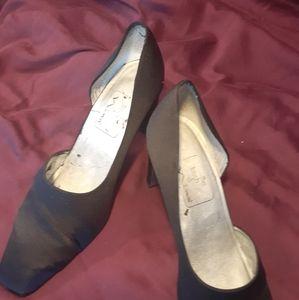 Black satin dress heels slightly worn